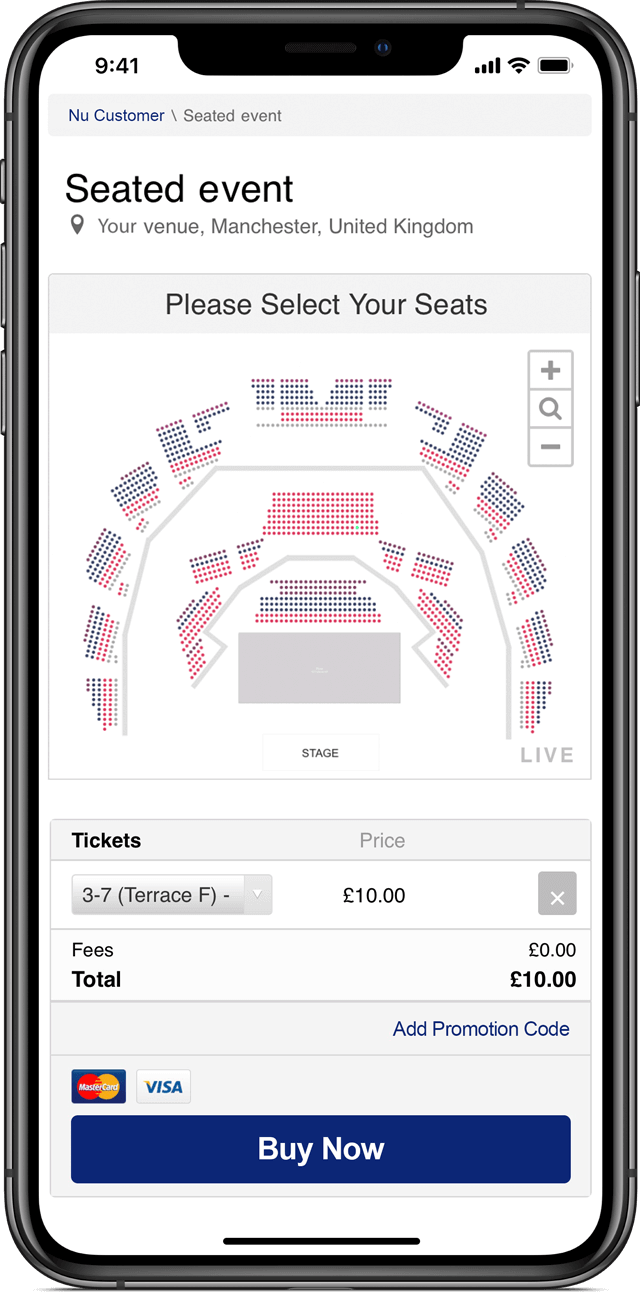 Branded mobile-optimised ticket shop created with the Nutickets event management software